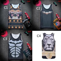 Wholesale Lion Face Tank Tops Basketball Jersey Singlet Fitness Gym Muscle Vest GymShark Tank Tops with Batman Print for Men V5