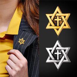 U7 David Star Cross Brooches Fashion Unisex Jewelry 18K Gold Platinum Plated Christian Religious Accessories Cross Jewelry