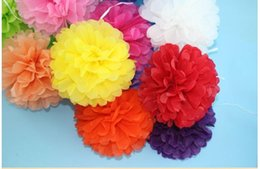 Wholesale ZH01 inch Tissue Paper Pom Poms Flower Balls Display Flower Wedding Party Home Living Room Decoration Cheap Pompoms Hot Sale