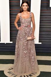 Nina Dobrev Oscars 2016 Elie Saab Celebrity Dresses Elegant Square Sequins 3d Applique Open Back Evening Gowns with Beading Formal Wear