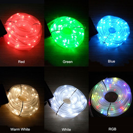 10m Solar Rope Light Outdoor String Lights Waterproof LED Tube Light Christmas Holiday Outdoor Decoration Lights red green blue white RGBY
