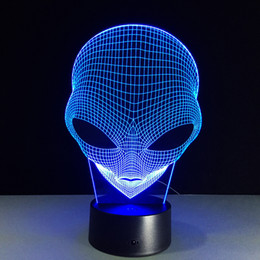 Alien 3D Illusion Lamp RGB Colorful 3D Light USB Powered AA Battery Bin Dropshipping Retail Gift Box