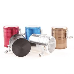 Wholesale New style layers Side Handle Rolling Herb Grinder Aluminium Alloy Diameter MM Inches Tobacco Spice Crusher CB630