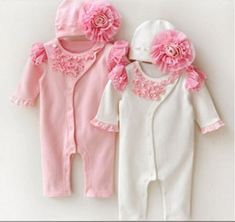 Wholesale Spring Lace Hats - 2016 kids Suit Outfits Newborn Baby Girl Clothes Girls Lace Flowers Rompers+Hats Baby autumn summer Clothing Sets Infant Jumpsuit bodysuits