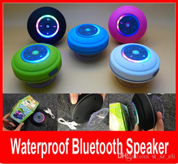 Wholesale New Portable Colorfull LED Waterproof Wireless Bluetooth Speaker Shower Car Handsfree Receive Call mini Suction Phone speakers