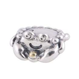 Wholesale crown silver openwork crab charm ale sterling silver charms loose beads diy jewelry for thread bracelet DC233