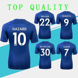 201New Home blue Soccer Jersey 17 18 HAZARD WILLIAN short sleeve soccer shirt 2018 KANTE Football uniforms DIEGO COSTA Sales S-XXXL
