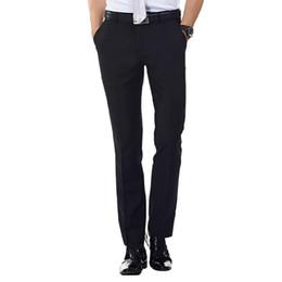 Wholesale Mens Flat Front Suit Separate Pant Black Navy blue Straight fit Zipper Fly Unelastic Wrinkle resistant Business Dress Pants