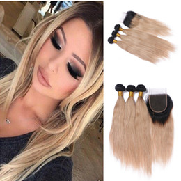 Ombre Brazilian Straight Hair With Top Closure Two Tone 1B 27 Honey Blonde Ombre Human Hair Bundle Deals With 4*4 Lace Closure