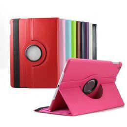 Acheter en ligne Air en cuir libre-Pour le cas d'ipad 360 degrés de rotation stand intelligent PU cuir pour iPad air2 Cover Case For ipad5 / 6 / mini4 Retina pour Samsung Galaxy Tab Free Ship