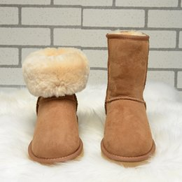 Wholesale Australia Classic Cowhide Snow Boots Ladies Warm Winter Short Ankle Boot Wool Womens Shoes