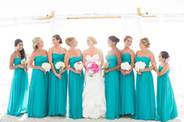 2019 Turquoise Beach Bridesmaid Dresses Flowy Chiffon A Line Summer Maid Of Honor Dresses Garden Long Bridesmaid Dresses Custom Made