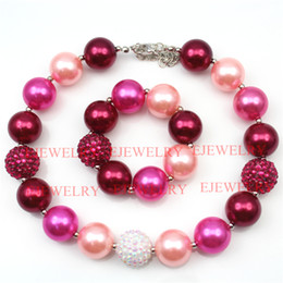 fashion jewelry red hot pink pearl beads red white rhinestone beads chunky girl bubblegum kids Necklace&bracelet set for party gifts