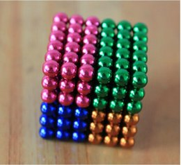 Wholesale-216pcs 5mm neodymium magnetic balls Multicolor mixed spheres beads magic cube magnets puzzle with metal box novelty toy gifts