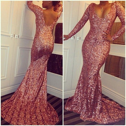 Rose Pink Sequined Cheap Mermaid Prom Dresses 2016 Scoop Neck Long Sleeves Sexy Low Back Sparkling Evening Dresses Sweep Train Custom Made