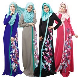 Wholesale Beautiful big flower printing design ethnic clothing dress Muslim New Arab Women Robes tukey style muslim dress