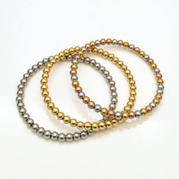 Hot Trendy Silver 18K Gold Filled 316L Stainless Steel Beads Bracelets Female Women Bangles Wholesale Jewelry Factory Price