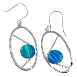 American handcrafted Oval shaped sterling silver 925 Opal earrings gemstone Jewelry for women in party E7537
