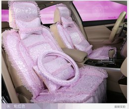 Wholesale princess lace women s car seats covers set pink purple front back full set auto chairs covers wedding car decoration gift for girlfriend
