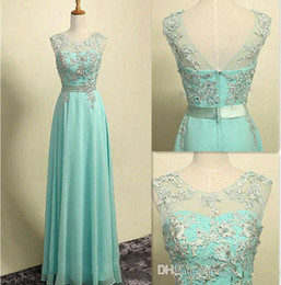 Wholesale Hot sale Long Bridesmaid Dresses A Line Cap Sleeves Lace Appliques Chiffon Sheer Backless Floor Length Prom Party Evening Gowns
