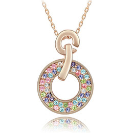 Bridal Necklace With Rhinestone Crystal Necklaces Pendant Fashion Jewelry make with Swarovski Elements 18K Rose Gold Plated 2881