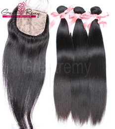 Wholesale 4pcs Straight Brazilian Hair with Silk Base Top Closure Baby Hair Brazilian Virgin Bundles with Lace Closure Human Hair Greatremy