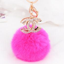 Wholesale 2016 Fashion Cute Rabbit Fur Ball Keychains D Car Rhinestone Key Chain Metal Key Rings Accessories Women Keyrings Bag Charm Pendant