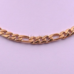 7mm Figaro chain Men's Stainless Steel Golden Necklace 18in-40inch jewelry charm