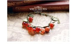 Fashion glass little cherry Bracelet new design Lovely Cherry pendant Fit Red women girls Beads Bracelet