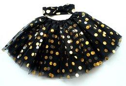 2016 New Girls Tutu Set Skirt +Headband Golden Polka Dots Tutu Skirt Children Photogryph Tutu Customes Sets