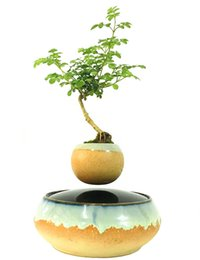 Wholesale 2016 High tech Magnetic Levitation Floating bonsai Floating Plants Ceramic Flower Pot Bonsai Tree Best Gifts for Men No Plant E