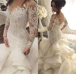 2018 Vintage Luxury Ball Gown Mermaid Ruffles Wedding Dress V-Neck Handmade See Through Back Court Train vestido de noiva Custom Made