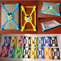Wholesale Universal D cartoon Minion Stitch Mickey silicone bumper clear Frame back cases cover for ipad mini air inch Tablet PC best