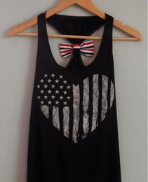 Wholesale Hot Sale Lady t Shirt Love Star United States Flag Print Vest Women Tank Top With Back Bow