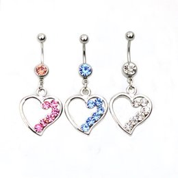D0359 ( 3 colors ) Mix colors heart style style Belly Button ring Navel Rings Body Piercing Jewelry Dangle Accessories Fashion Charm 10PCS