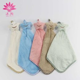 muchun Brand 5 Stars Smiling Face Hand 80% Natural Cotton Towel Soft Cute Washrag Fresh Style Home Hand Towel 32*20cm