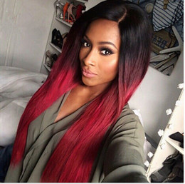 Wholesale Charming ombre black to wine red women s hair beauty cm long straight full wig