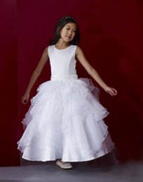 2016 New Spring Ball Gown White Jewel Little Girl's Pageant Dresses First Communion Wedding Custom Made Kids Dresses