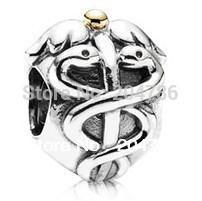 Wholesale Caduceus Charm Sterling Silver European Charms Bead Fit Pandora Bracelets Snake Chain Fashion DIY Jewelry