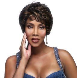 Free shipiping New Popular hair Women's ladies wig Natural Hair short curly dark brown full wigs for black women