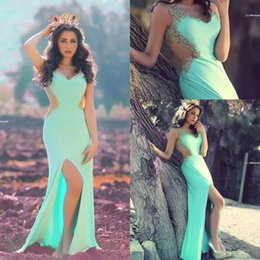 2016 Mermaid Evening Dresses Mint Green V-Neck Front Split Appliques Gold Lace Beads See Through Back Floor Length Long Prom Dress