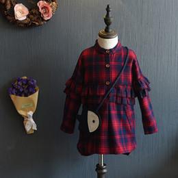 Wholesale Girls doll shirt preppy stlye children falbala lattice princess dresses Winter new kids thicken long sleeve single breasted shirt T0201