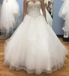 Real Images Beaded Wedding Dresses 2016 Sweetheart Diamonds Sequins Ball Gown Lace Up Back Hot Chapel Organza Bridal Gowns Custom made