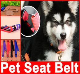 Wholesale Adjustable Practical Dog Pet Car Safety Leash Seat Belt Harness Restraint Collar Lead Travel Clip Black Red Blue Dog Accessories