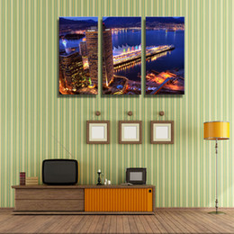 3 Picture Combination Art Wall City Night Canvas Print Oil Painting Wall Art Modern Decoration Abstract On Canvas Buildings Lake
