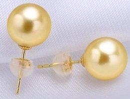 Charming pair 10-11mm south sea round gold pearl earring 14k gold