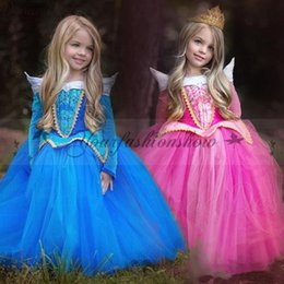 Wholesale Children Kids Sleeping Beauty dress girl tutu skirts Princess Aurora Fancy Dress Xmas Costume Pretty Baby belle dress Cosplay dress M474