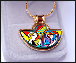 Woman Before a Mirror Series 18K gold-plated enamel necklaces for woman Fan Pendant Necklace designer women necklace
