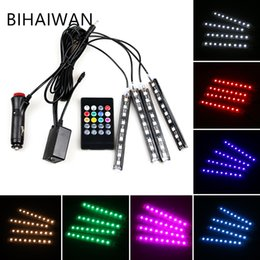 BIHAIYUAN 4Pcs Set 12V 9LED Voice Colorful Strip Car Interior Floor Atmosphere Lamp Neon Light Fog Lamp waterproof