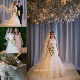 Long Sleeves Wedding Dresses Unique Princess White Lace Applique Bridal Party Gowns Vestidos De Noiva 2019